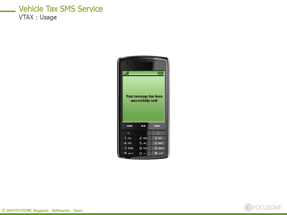 Vehicle Tax SMS Service VTAX : Usage