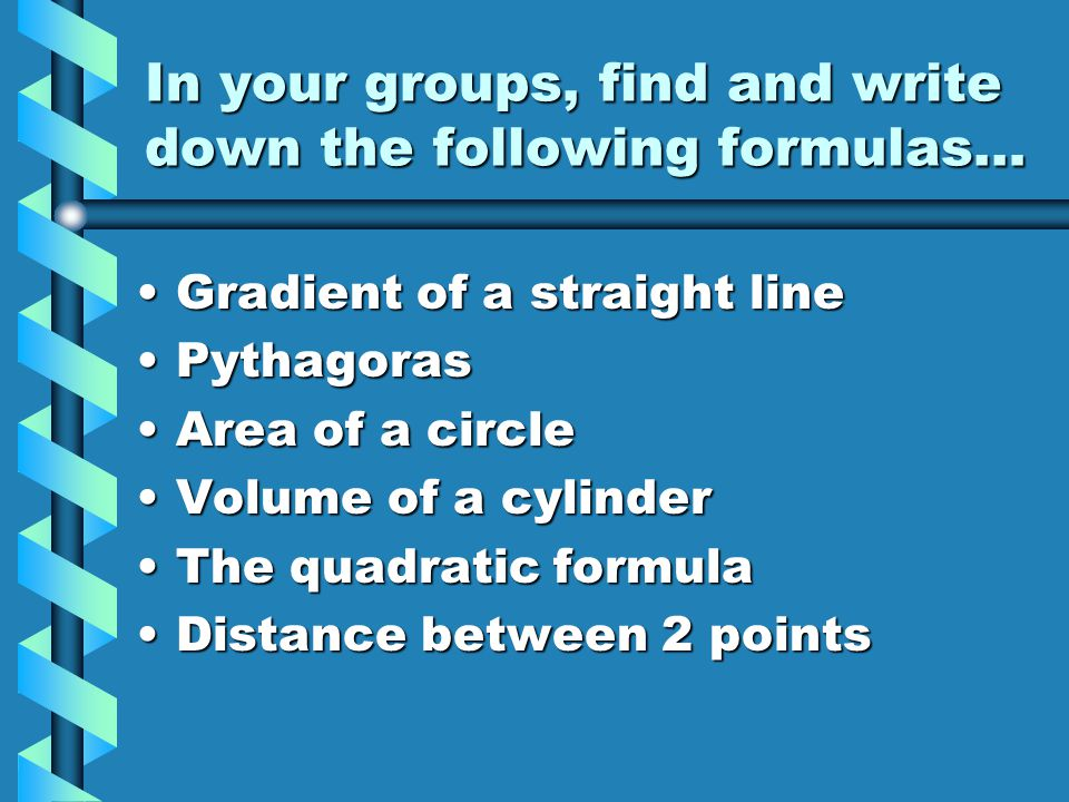 Finding a gradient… Write down the gradient formulaWrite down the gradient formula Write down a mathematical expression to find the gradient of the line joining the points (2,5) and (10,41)Write down a mathematical expression to find the gradient of the line joining the points (2,5) and (10,41) Use the brackets function of the calculator to find the gradient in one goUse the brackets function of the calculator to find the gradient in one go