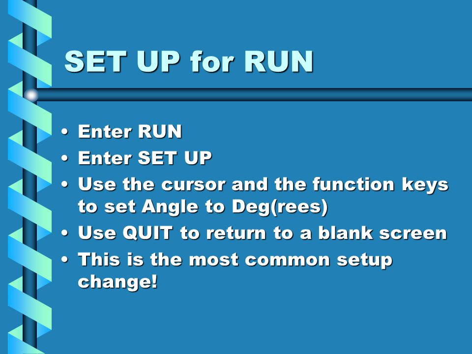 RUN Mode RUN mode features On-screen display – algebraic orderOn-screen display – algebraic order You should use bracketsYou should use brackets You can work with fractionsYou can work with fractions You can edit (before and after AC)You can edit (before and after AC) Ans stores the last answerAns stores the last answer You can store results in ALPHA memoriesYou can store results in ALPHA memories