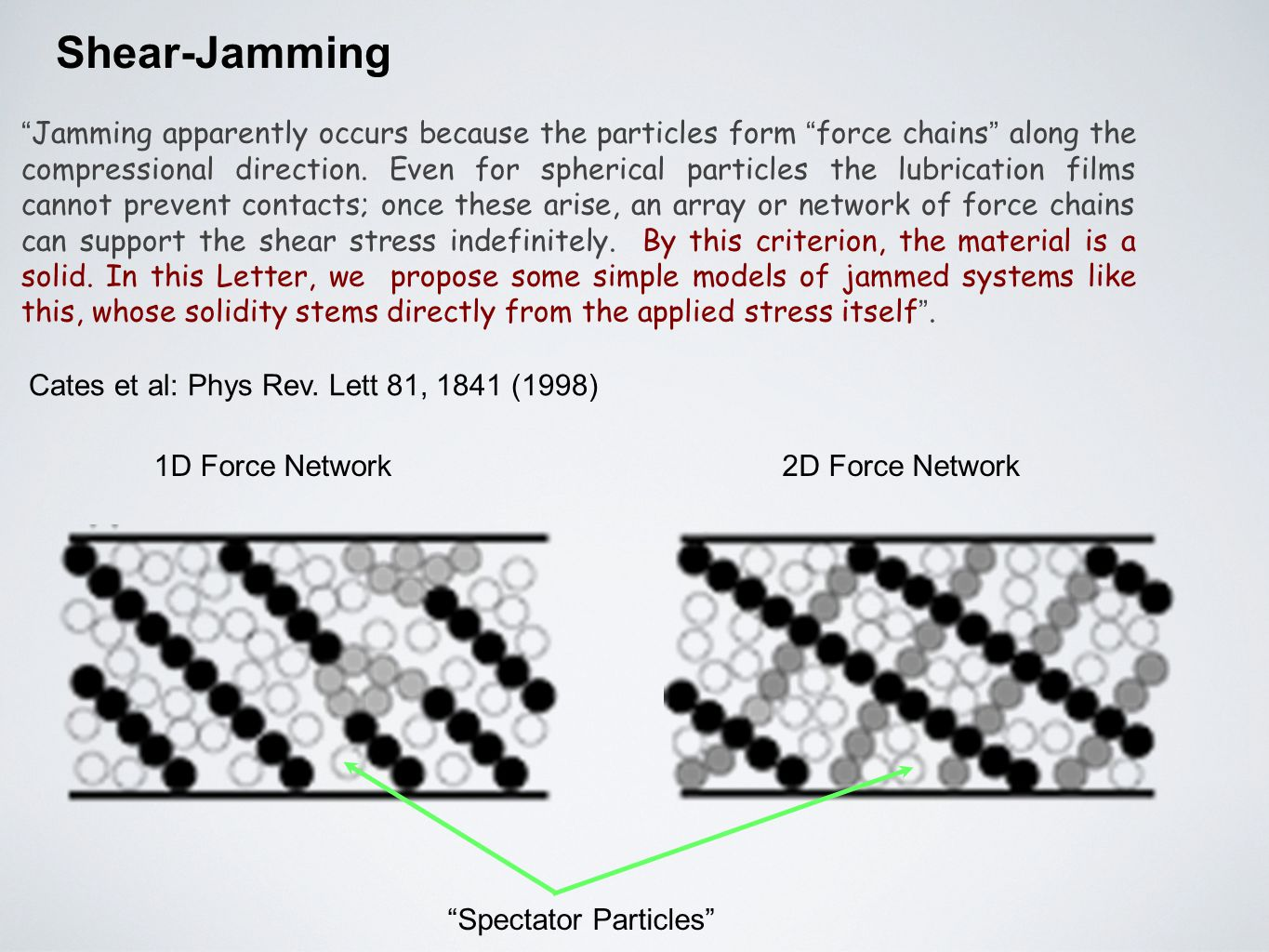 "Shear-Jamming "" Jamming apparently occurs because the particles form "" force chains "" along the compressional direction. Even for spherical particles"
