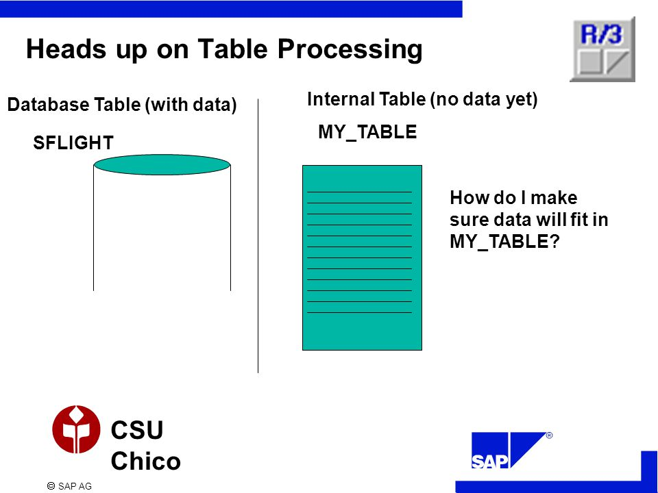  SAP AG CSU Chico Heads up on Table Processing Database Table (with data) Internal Table (no data yet) SFLIGHT MY_TABLE How do I make sure data will fit in MY_TABLE?