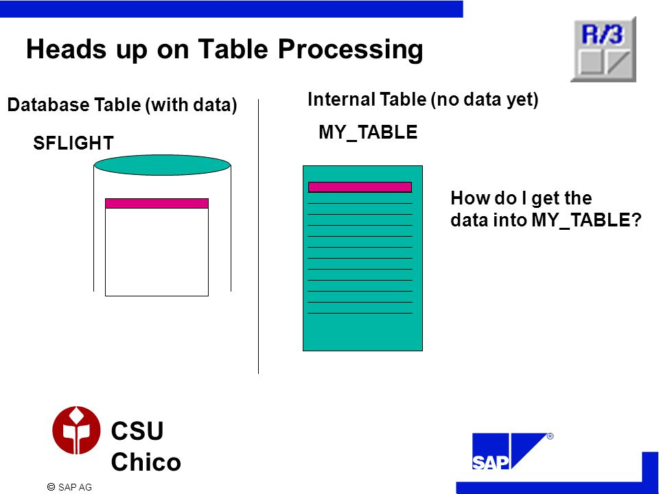  SAP AG CSU Chico Heads up on Table Processing Database Table (with data) Internal Table (no data yet) SFLIGHT MY_TABLE How do I get the data into MY_TABLE