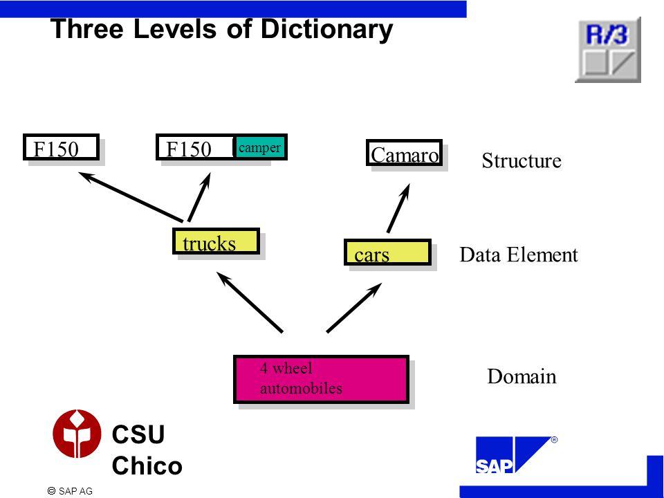  SAP AG CSU Chico trucks Three Levels of Dictionary F150 Camaro F150 cars camper Domain Data Element Structure 4 wheel automobiles