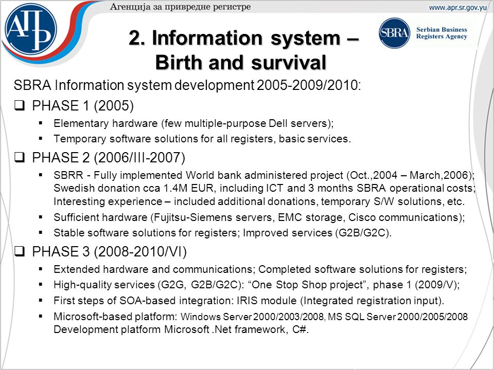 2. Information system – Birth and survival 2.