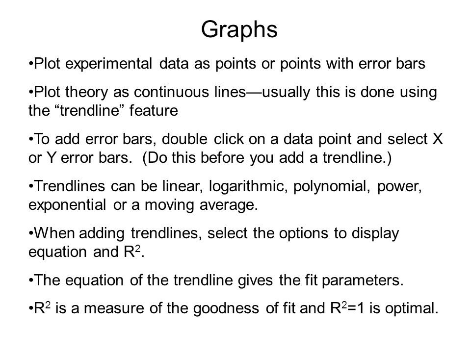 Graphs Equation of trendline — note that parameters are the same as linear regression on previous slide.
