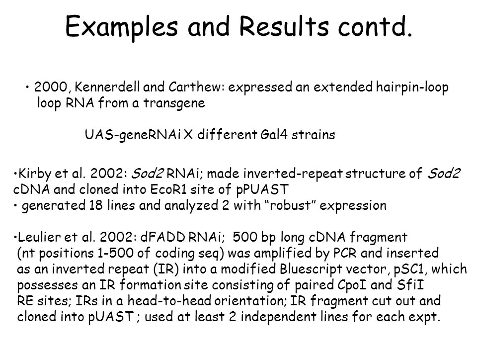 Examples and Results contd. 2000, Kennerdell and Carthew: expressed an extended hairpin-loop loop RNA from a transgene UAS-geneRNAi X different Gal4 s