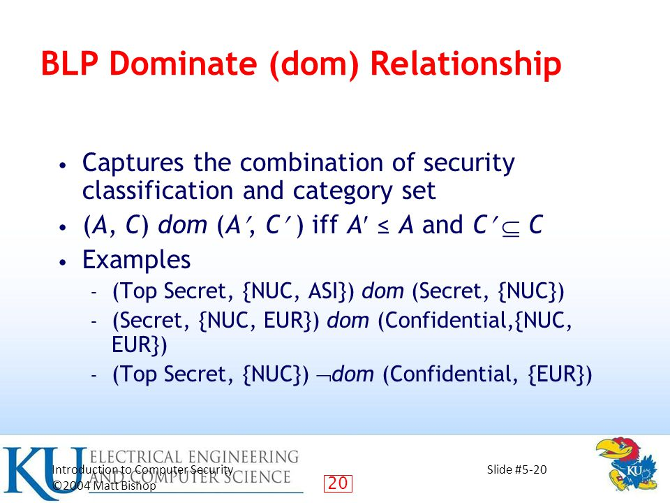 20 Introduction to Computer Security ©2004 Matt Bishop Slide #5-20 BLP Dominate (dom) Relationship Captures the combination of security classification and category set (A, C) dom (A, C ) iff A ≤ A and C  C Examples – (Top Secret, {NUC, ASI}) dom (Secret, {NUC}) – (Secret, {NUC, EUR}) dom (Confidential,{NUC, EUR}) – (Top Secret, {NUC})  dom (Confidential, {EUR})