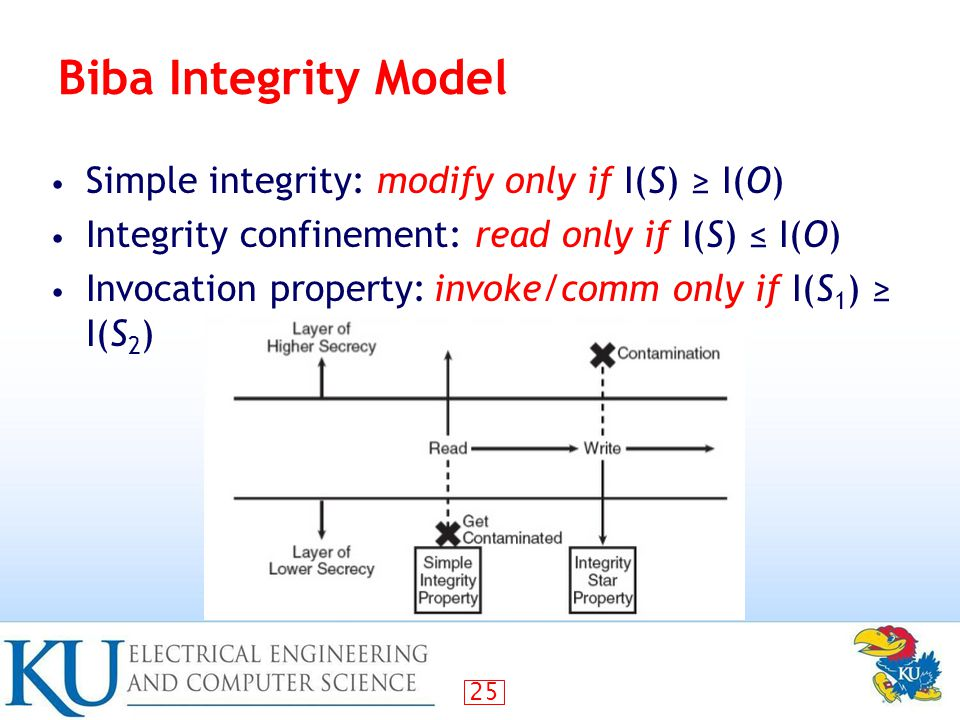 25 Biba Integrity Model Simple integrity: modify only if I(S) ≥ I(O) Integrity confinement: read only if I(S) ≤ I(O) Invocation property:invoke/comm only if I(S 1 ) ≥ I(S 2 )