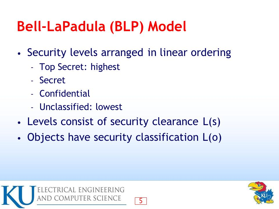 36 Compare CW to Bell-LaPadula CW is based on access history, BLP is history-less BLP can capture CW state at any time, but cannot track changes over time – BLP security levels would need to be updated each time an access is allowed