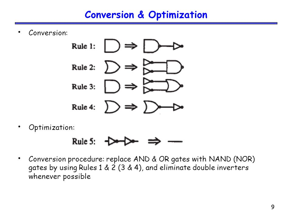9 Conversion & Optimization Conversion: Optimization: Conversion procedure: replace AND & OR gates with NAND (NOR) gates by using Rules 1 & 2 (3 & 4), and eliminate double inverters whenever possible