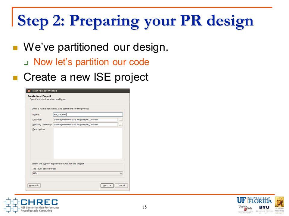 Step 2: Preparing your PR design We've partitioned our design.
