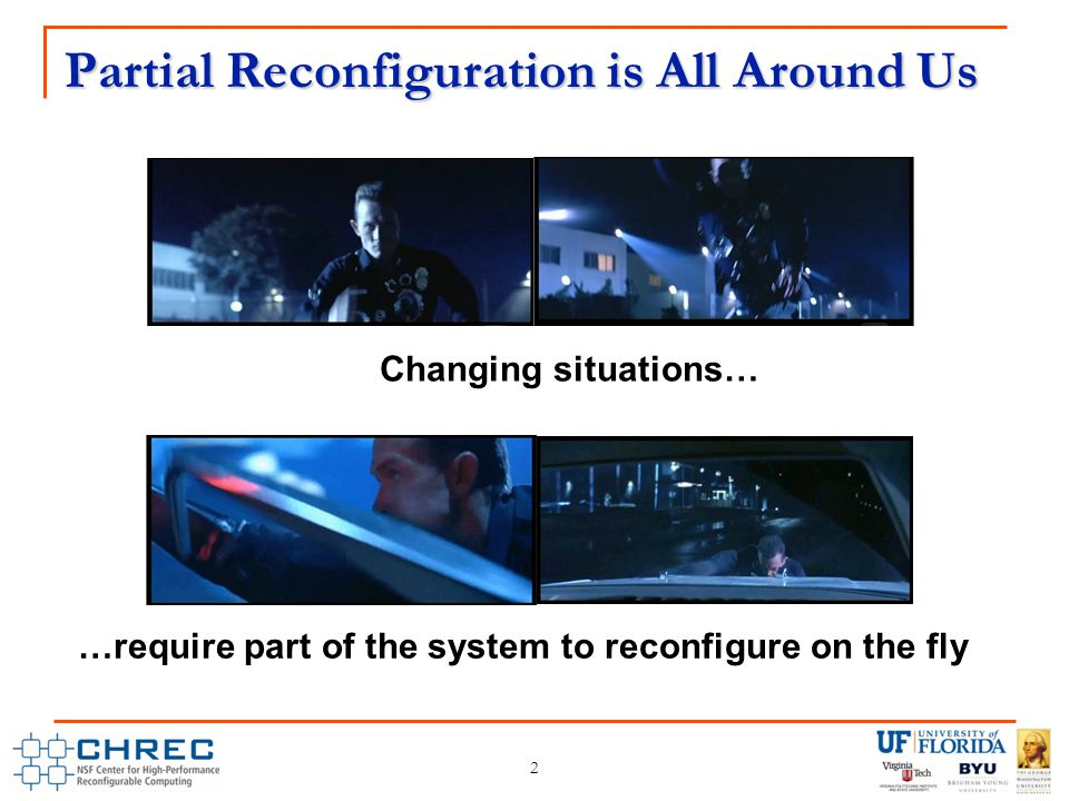 Partial Reconfiguration is All Around Us 2 Changing situations… …require part of the system to reconfigure on the fly