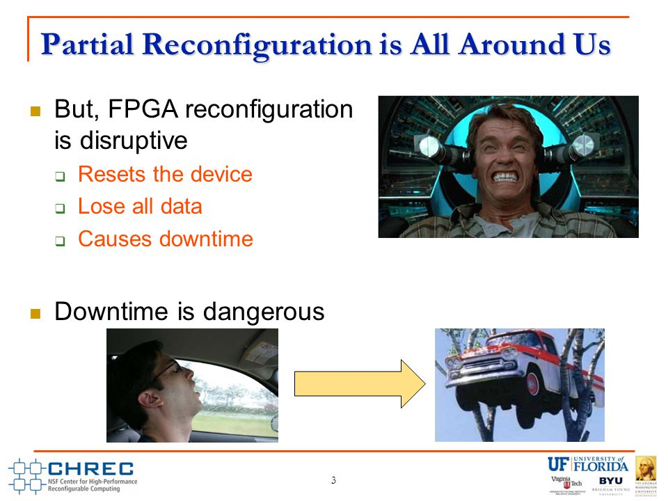 Partial Reconfiguration is All Around Us But, FPGA reconfiguration is disruptive  Resets the device  Lose all data  Causes downtime Downtime is dangerous 3