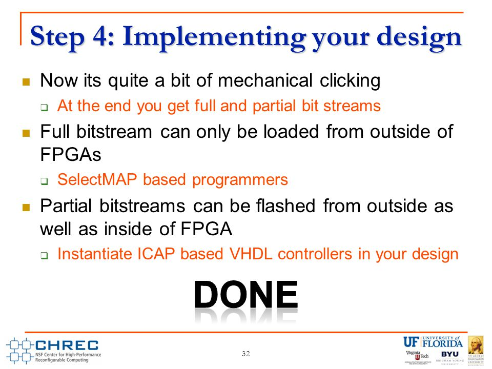 Step 4: Implementing your design 32