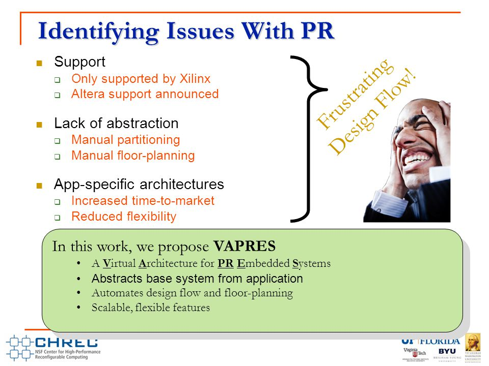 Identifying Issues With PR Support  Only supported by Xilinx  Altera support announced Lack of abstraction  Manual partitioning  Manual floor-planning App-specific architectures  Increased time-to-market  Reduced flexibility Frustrating Design Flow.