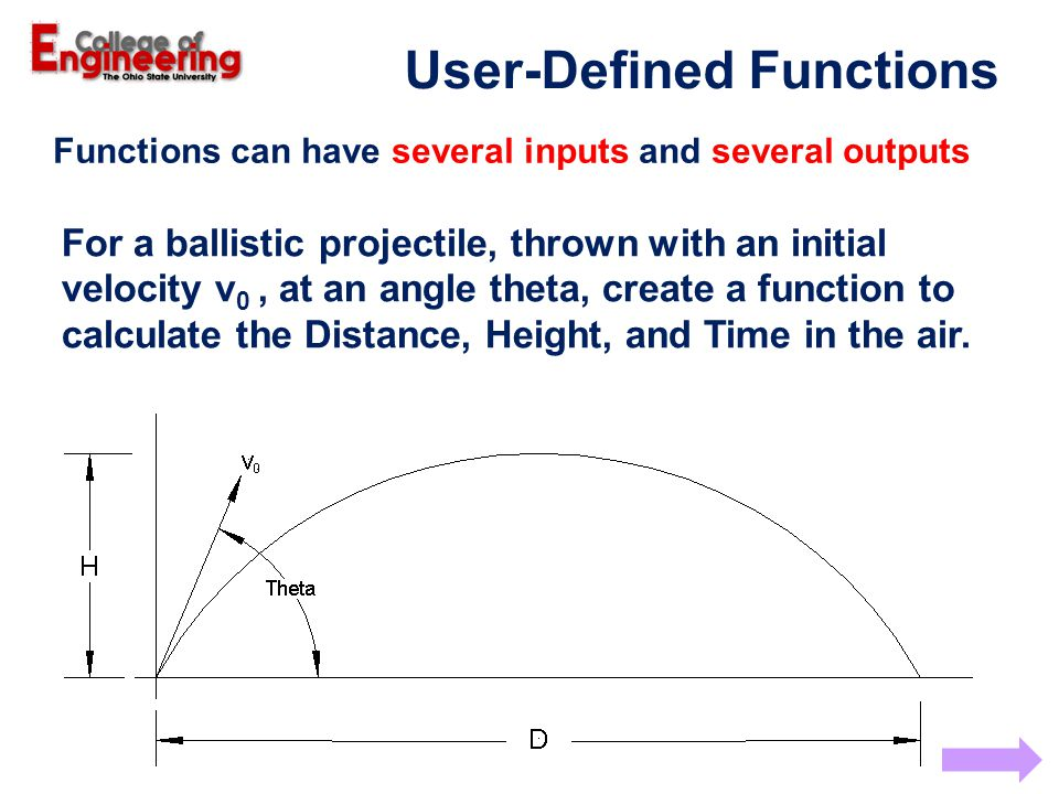 For a ballistic projectile, thrown with an initial velocity v 0, at an angle theta, create a function to calculate the Distance, Height, and Time in the air.