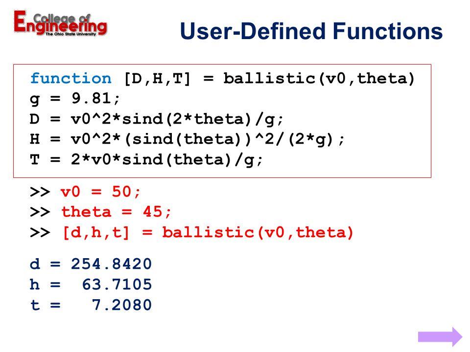function [D,H,T] = ballistic(v0,theta) g = 9.81; D = v0^2*sind(2*theta)/g; H = v0^2*(sind(theta))^2/(2*g); T = 2*v0*sind(theta)/g; >> v0 = 50; >> theta = 45; >> [d,h,t] = ballistic(v0,theta) d = 254.8420 h = 63.7105 t = 7.2080 User-Defined Functions