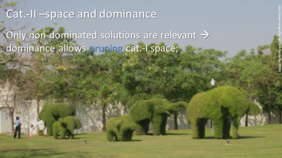 Only non-dominated solutions are relevant  dominance allows pruning cat.-I space; http://www.morguefile.com/archive/display/50363 Cat.-II –space and dominance