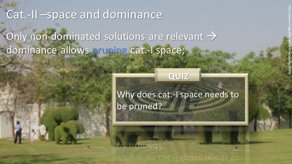Only non-dominated solutions are relevant  dominance allows pruning cat.-I space; http://www.morguefile.com/archive/display/50363 Cat.-II –space and dominance