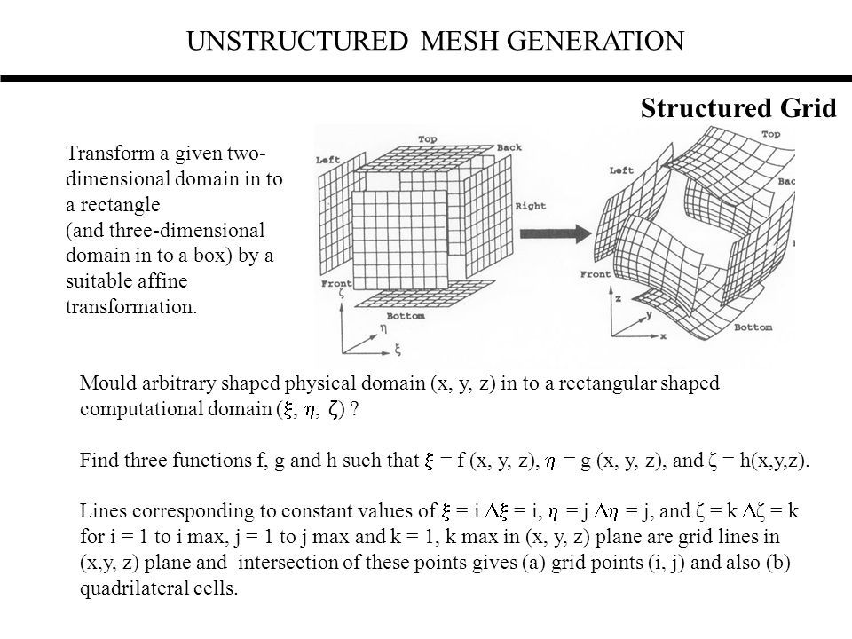 UNSTRUCTURED MESH GENERATION Transform a given two- dimensional domain in to a rectangle (and three-dimensional domain in to a box) by a suitable affi