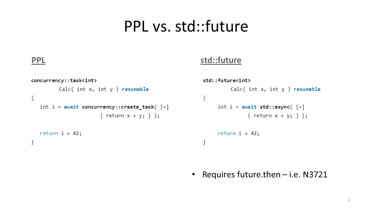 PPL vs. std::future 2 PPLstd::future concurrency::task Calc( int x, int y ) resumable { int i = await concurrency::create_task( [=] { return x + y; }
