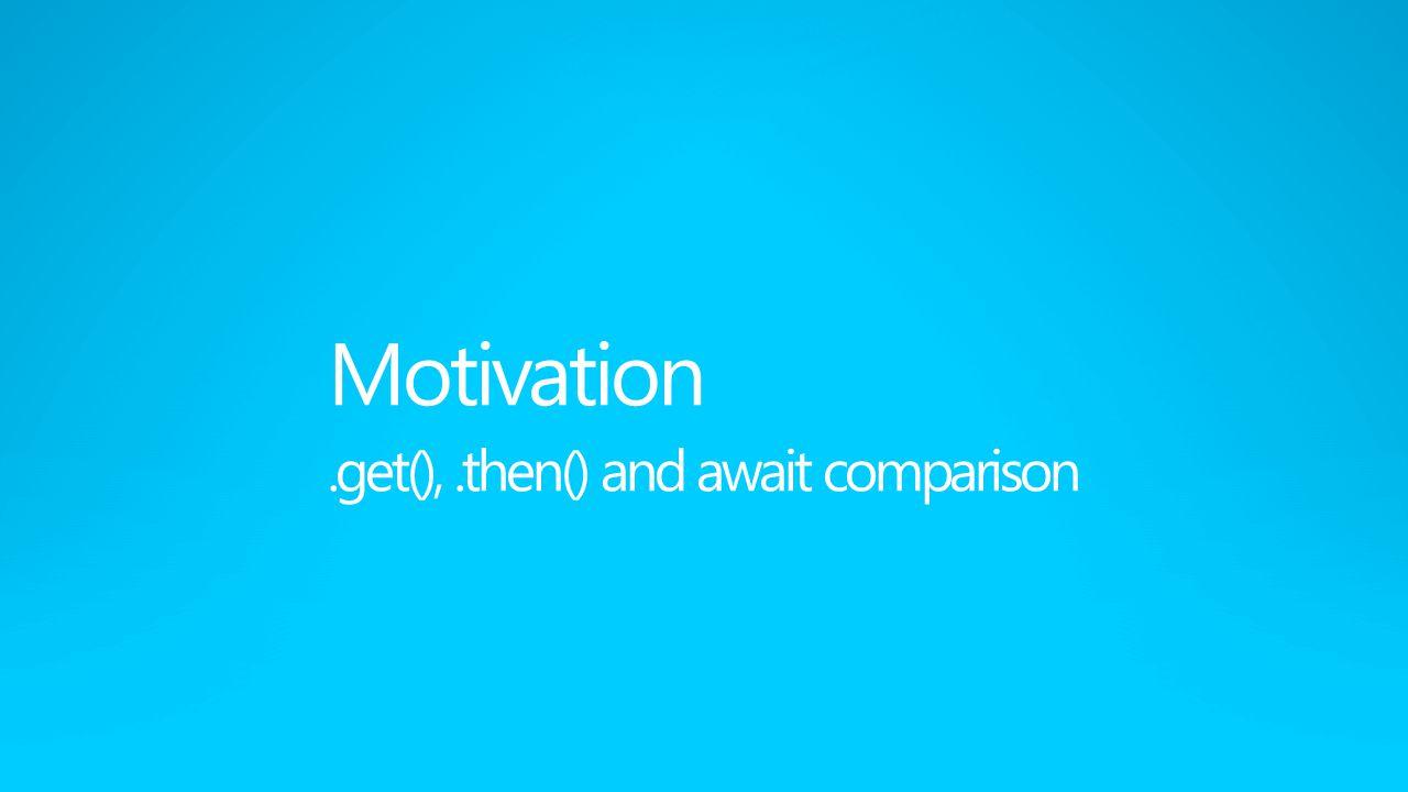 Motivation.get(),.then() and await comparison