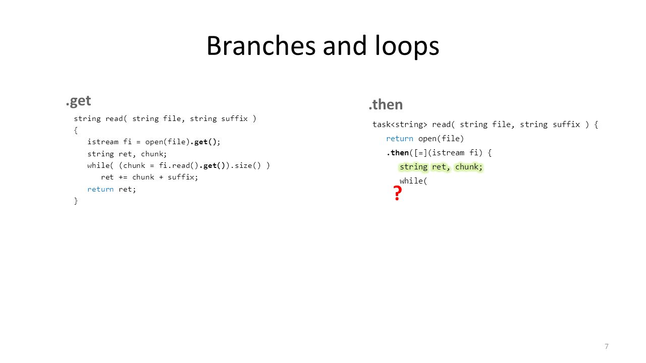 Branches and loops string read( string file, string suffix ) { istream fi = open(file).get(); string ret, chunk; while( (chunk = fi.read().get()).size() ) ret += chunk + suffix; return ret; } 7 ?.get.then