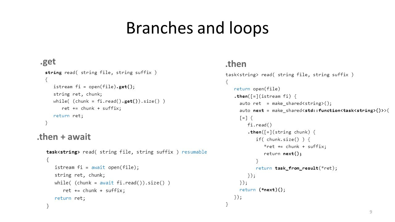 Branches and loops task read( string file, string suffix ) { return open(file).then([=](istream fi) { auto ret = make_shared (); auto next = make_shared ()>>( [=] { fi.read().then([=](string chunk) { if( chunk.size() ) { *ret += chunk + suffix; return next(); } return task_from_result(*ret); }); return (*next)(); }); } 9 task read( string file, string suffix ) resumable { istream fi = await open(file); string ret, chunk; while( (chunk = await fi.read()).size() ) ret += chunk + suffix; return ret; }.get.then.then + await string read( string file, string suffix ) { istream fi = open(file).get(); string ret, chunk; while( (chunk = fi.read().get()).size() ) ret += chunk + suffix; return ret; }