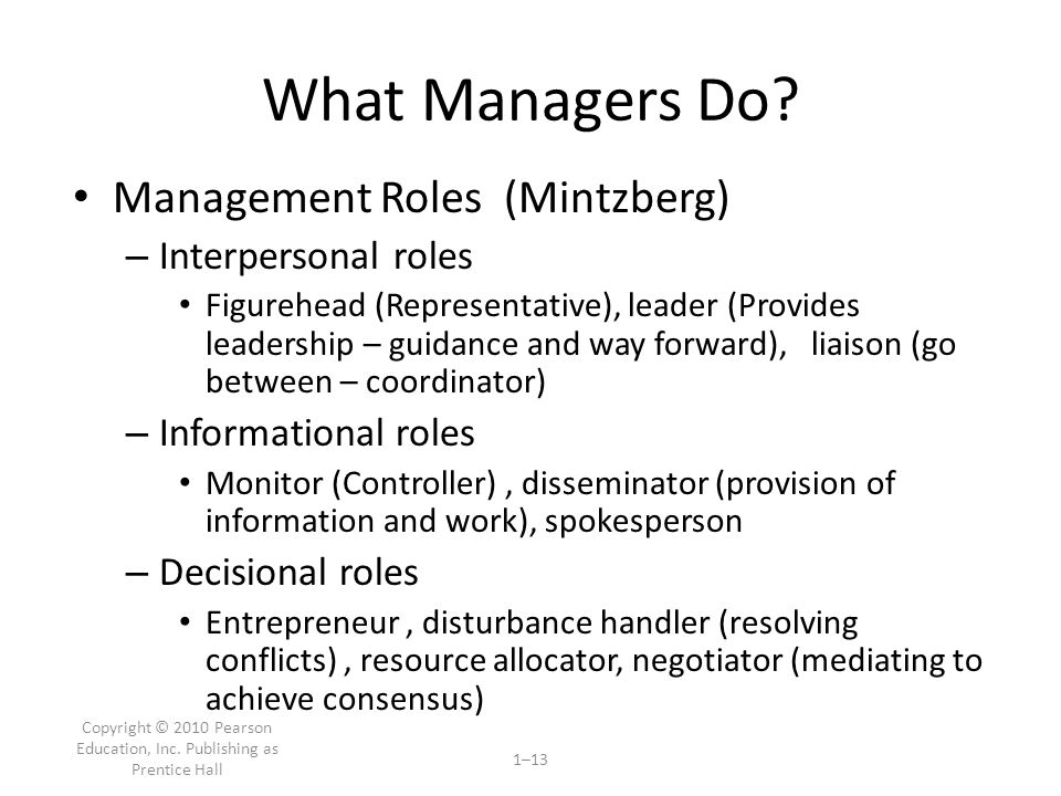 Copyright © 2010 Pearson Education, Inc.Publishing as Prentice Hall 1–13 What Managers Do.