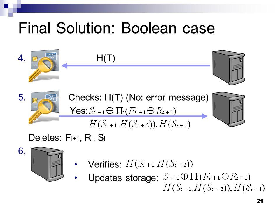 21 4. H(T) 5. Checks: H(T) (No: error message) Yes: Deletes: F i+1, R i, S i 6.
