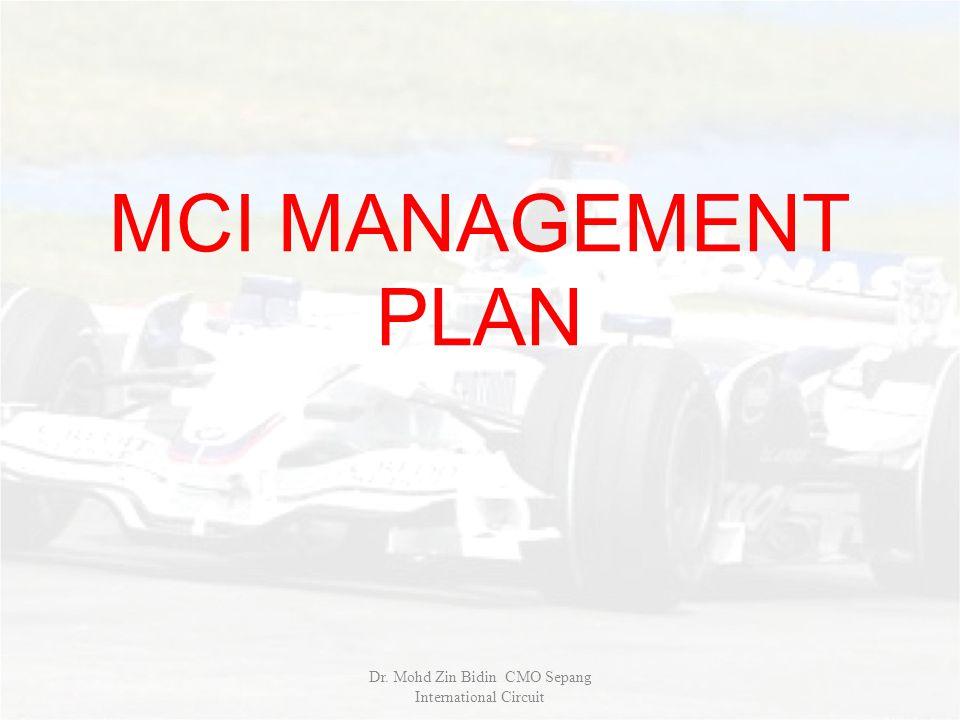 MCI MANAGEMENT PLAN Dr. Mohd Zin Bidin CMO Sepang International Circuit