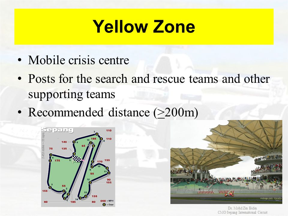Yellow Zone Mobile crisis centre Posts for the search and rescue teams and other supporting teams Recommended distance (>200m) Dr. Mohd Zin Bidin CMO