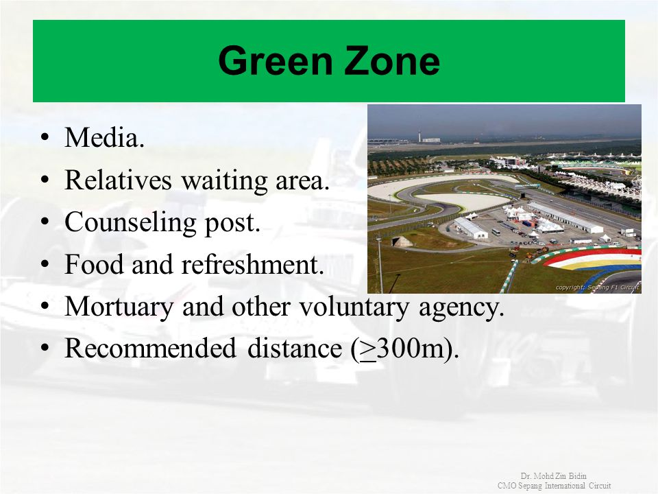 Green Zone Media. Relatives waiting area. Counseling post. Food and refreshment. Mortuary and other voluntary agency. Recommended distance (>300m). Dr