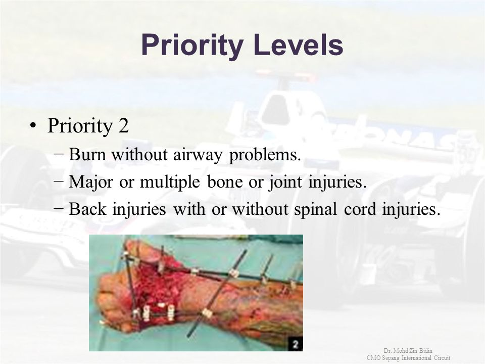 Priority Levels Priority 2 −Burn without airway problems. −Major or multiple bone or joint injuries. −Back injuries with or without spinal cord injuri