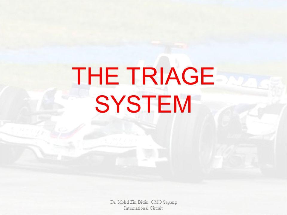 THE TRIAGE SYSTEM Dr. Mohd Zin Bidin CMO Sepang International Circuit