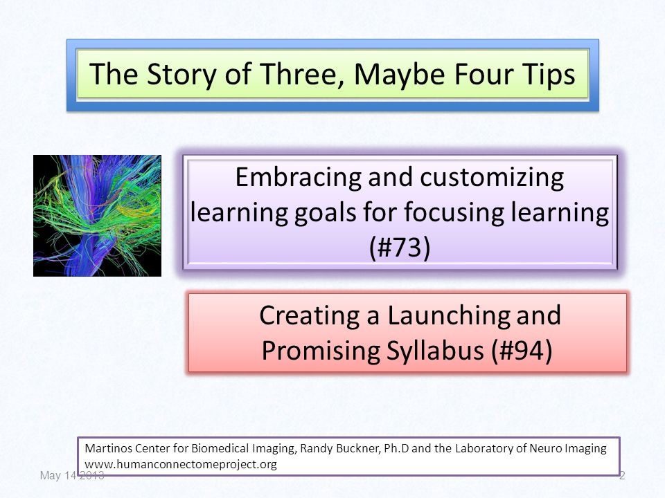 2 The Story of Three, Maybe Four Tips Embracing and customizing learning goals for focusing learning (#73) Creating a Launching and Promising Syllabus