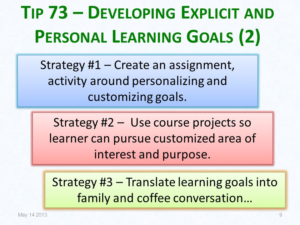 T IP 73 – D EVELOPING E XPLICIT AND P ERSONAL L EARNING G OALS (2) May 14 20139 Strategy #1 – Create an assignment, activity around personalizing and