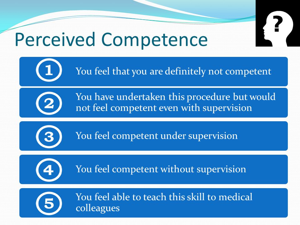 Perceived Competence You feel that you are definitely not competent You have undertaken this procedure but would not feel competent even with supervision You feel competent under supervision You feel competent without supervision You feel able to teach this skill to medical colleagues