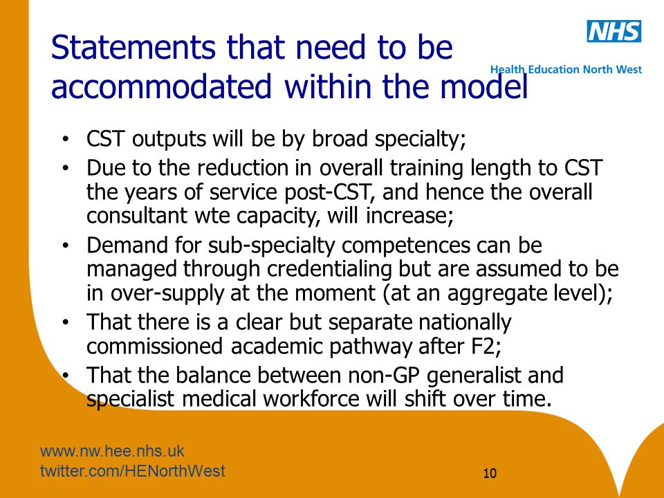 www.nw.hee.nhs.uk twitter.com/HENorthWest Statements that need to be accommodated within the model CST outputs will be by broad specialty; Due to the