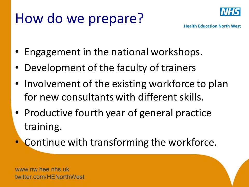 www.nw.hee.nhs.uk twitter.com/HENorthWest How do we prepare? Engagement in the national workshops. Development of the faculty of trainers Involvement