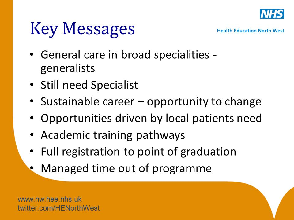 www.nw.hee.nhs.uk twitter.com/HENorthWest Key Messages General care in broad specialities - generalists Still need Specialist Sustainable career – opp