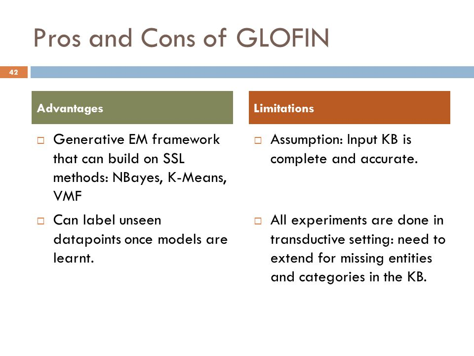 Pros and Cons of GLOFIN  Generative EM framework that can build on SSL methods: NBayes, K-Means, VMF  Can label unseen datapoints once models are learnt.