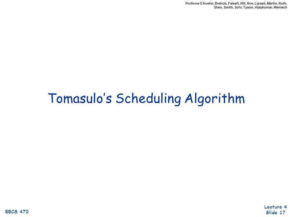 Lecture 4 Slide 17 EECS 470 Portions © Austin, Brehob, Falsafi, Hill, Hoe, Lipasti, Martin, Roth, Shen, Smith, Sohi, Tyson, Vijaykumar, Wenisch Tomasulo's Scheduling Algorithm