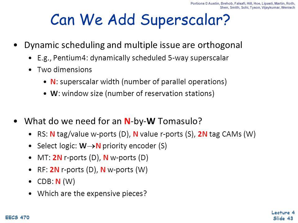 EECS 470 Lecture 4 Slide 43 EECS 470 Portions © Austin, Brehob, Falsafi, Hill, Hoe, Lipasti, Martin, Roth, Shen, Smith, Sohi, Tyson, Vijaykumar, Wenisch Can We Add Superscalar.