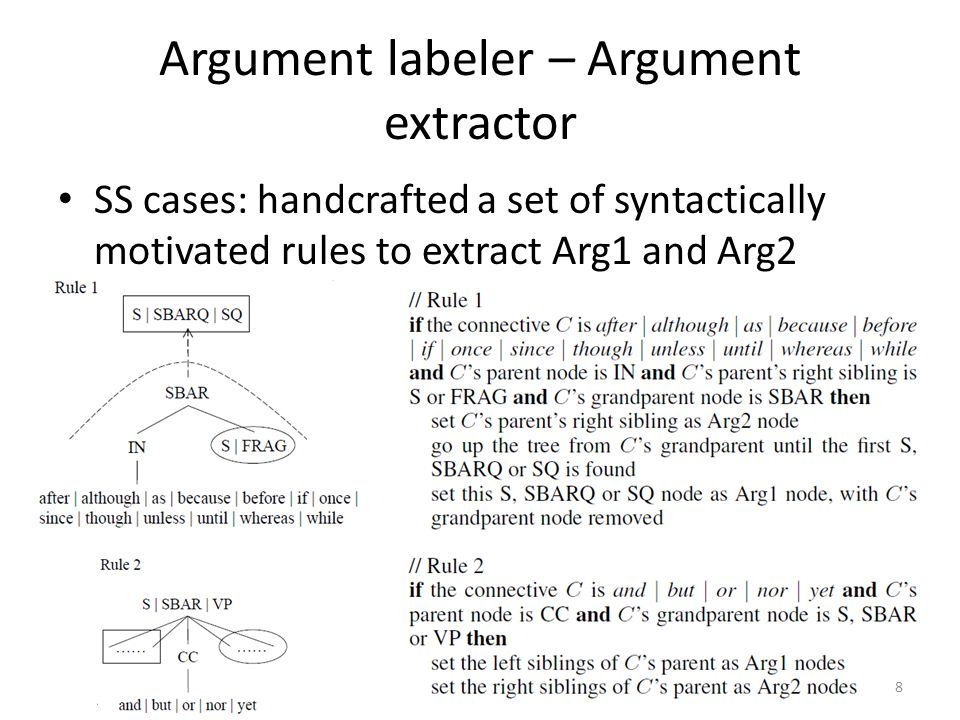 Argument labeler – Argument extractor SS cases: handcrafted a set of syntactically motivated rules to extract Arg1 and Arg2 8