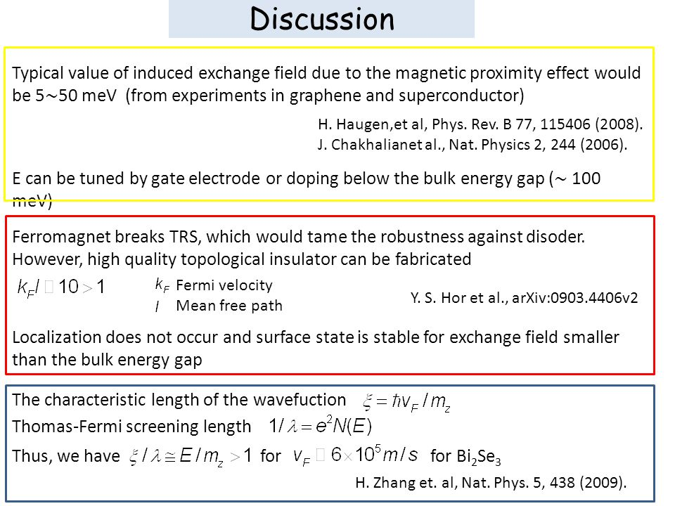 Discussion Typical value of induced exchange field due to the magnetic proximity effect would be 5 ∼ 50 meV (from experiments in graphene and superconductor) H.