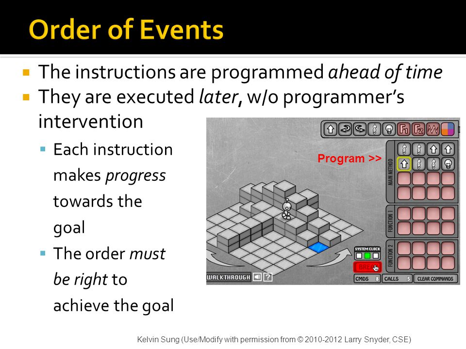  The instructions are programmed ahead of time  They are executed later, w/o programmer's intervention  Each instruction makes progress towards the goal  The order must be right to achieve the goal Kelvin Sung (Use/Modify with permission from © 2010-2012 Larry Snyder, CSE) Program >>