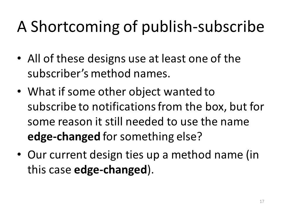 A Shortcoming of publish-subscribe All of these designs use at least one of the subscriber's method names.