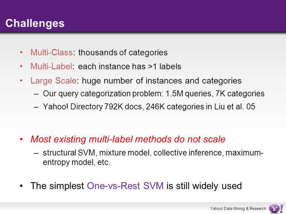Yahoo! Data Mining & Research Challenges Multi-Class: t housands of categories Multi-Label: e ach instance has >1 labels Large Scale: huge number of i
