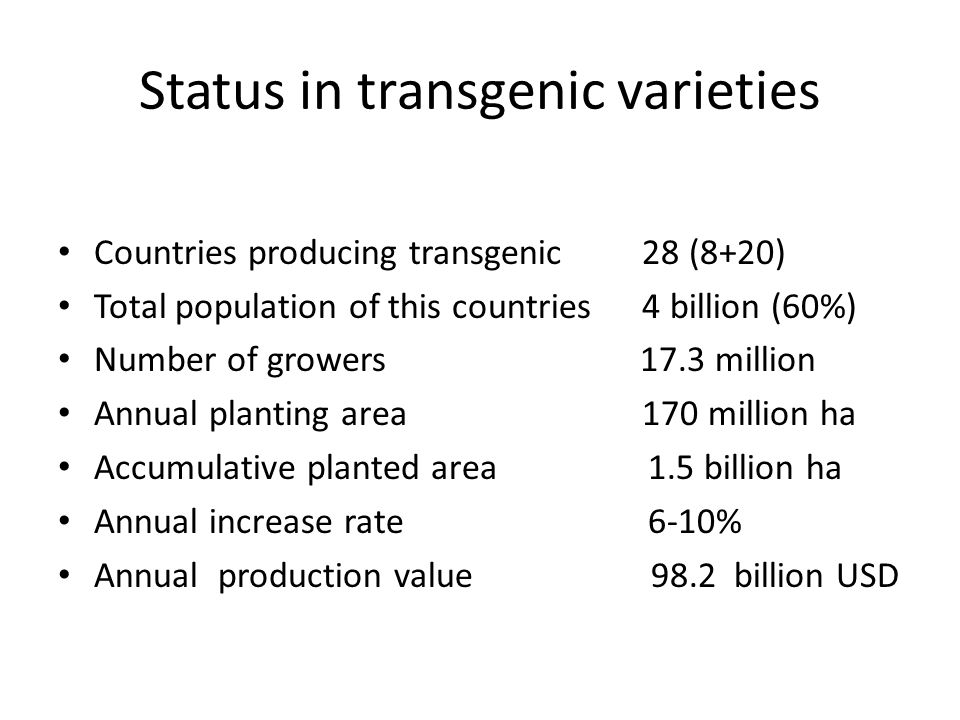 Status in transgenic varieties Countries producing transgenic 28 (8+20) Total population of this countries 4 billion (60%) Number of growers 17.3 mill